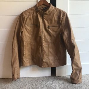 Women's tan leather look jacket